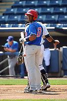 Auburn Doubledays infielder Estarlin Martinez (27) during game against the Staten Island Yankees at Richmond County Bank Ballpark at St.George on August 2, 2012 in Staten Island, NY.  Auburn defeated Staten Island 11-3.  Tomasso DeRosa/Four Seam Images