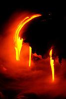 lava flows into the ocean at the Leapuki ocean entry, Hawaii, USA Volcanoes National Park, Kilauea Volcano, Big Island, Hawaii, USA, Pacific