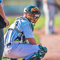 20 August 2017: Vermont Lake Monsters catcher Jarrett Costa glances back to the dugout for a sign during game action against the Connecticut Tigers at Centennial Field in Burlington, Vermont. The Lake Monsters rallied to edge out the Tigers 6-5 in 13 innings of NY Penn League action.  Mandatory Credit: Ed Wolfstein Photo *** RAW (NEF) Image File Available ***