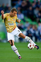 MELBOURNE, AUSTRALIA - DECEMBER 27: Ljubo Milicevic of the Jets kicks the ball during the round 20 A-League match between the Melbourne Victory and the Newcastle Jets at AAMI Park on December 27, 2010 in Melbourne, Australia. (Photo by Sydney Low / Asterisk Images)