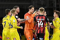 Asmir Begovic of AFC Bournemouth points the finger at Alex Pattison of Wycombe Wanderers right who was sent off during AFC Bournemouth vs Wycombe Wanderers, Sky Bet EFL Championship Football at the Vitality Stadium on 15th December 2020