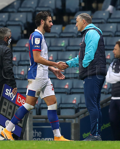 7th November 2020; Ewood Park, Blackburn, Lancashire, England; English Football League Championship Football, Blackburn Rovers versus Queens Park Rangers; Blackburn Rovers manager Tony Mowbray shakes hands with Ben Brereton of Blackburn Rovers as he is substituted