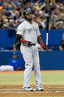Boston Red Sox designated hitter David Ortiz #34 reacts to a pitch call  during an American League game against the Toronto Blue Jays at Rogers Centre on June 3, 2012 in Toronto, Ontario.  (Mike Janes/Four Seam Images)