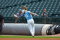 North Carolina Tar Heels first baseman Michael Busch (15) tracks a pop fly during the game against the Florida State Seminoles in the 2017 ACC Baseball Championship Game at Louisville Slugger Field on May 28, 2017 in Louisville, Kentucky. The Seminoles defeated the Tar Heels 7-3. (Brian Westerholt/Four Seam Images)