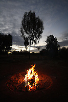 Campfire at Sunset in the Red Centre, Australia