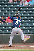 Jose Marmolejos (3) of the Potomac Nationals at bat against the Winston-Salem Dash at BB&T Ballpark on July 15, 2016 in Winston-Salem, North Carolina.  The Dash defeated the Nationals 10-4.  (Brian Westerholt/Four Seam Images)