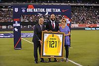 EAST RUTHERFORD, NJ - SEPTEMBER 7: Carlos Cordeiro US Soccer President, Tim Howard former player of the United States National Team being honored during a game between Mexico and USMNT at MetLife Stadium on September 6, 2019 in East Rutherford, New Jersey.