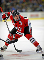 18 January 2008: Northeastern University Huskies' forward Wade MacLeod, a Freshman from Coquitlam, British Columbia, prepares to take a face-off against the University of Vermont Catamounts at Gutterson Fieldhouse in Burlington, Vermont. The two teams battled to a 2-2 tie in the first game of their 2-game weekend series...Mandatory Photo Credit: Ed Wolfstein Photo
