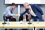 © Joel Goodman - 07973 332324 . 21/07/2016 . Manchester , UK . Candidates shake hands after a hustings for the Mayoralty of Greater Manchester , at the Renold Building of the University of Manchester . L-R Labour candidates Andy Burnham ( MP for Leigh ) , Tony Lloyd ( current interim Mayor ) and  Ivan Lewis ( MP for Bury South ) debate their relative candidacies . Photo credit : Joel Goodman