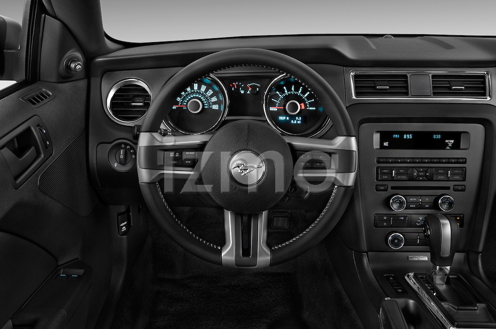 Steering wheel view of a 2013 Ford Mustang V6