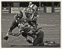 High school football action.