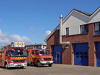 Feuerwehrstation beim Südhafen, Unterland, Insel Helgoland, Schleswig-Holstein, Deutschland, Europa<br /> fire brigade at south port, Helgoland island, district Pinneberg, Schleswig-Holstein, Germany, Europe