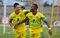 ITAGÜI - COLOMBIA, 29-09-2018: Los jugadores de Leones, celebran el gol anotado a Atlético Junior, durante el partido entre Leones F.C. y Atlético Junior, de la fecha 12 por la Liga Águila II 2018, jugado en el Metropolitano Ciudad de Itagüi-Ditaires de la ciudad de Itagüi. / The players of Leones, celebrates the scored goal to Atletico Junior, during match between Leones F.C. and Atletico Junior, of the 12th date for the Aguila League II 2018, played at Metropolitano Ciudad de Itagüi-Ditaires stadium in Itagüi city. Photo: VizzorImage/ León Monsalve / Cont.