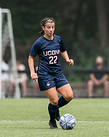 NEWTON, MA - AUGUST 29: Isabelle Lynch #22 of University of Connecticut brings the ball forward during a game between University of Connecticut and Boston College at Newton Campus Soccer Field on August 29, 2021 in Newton, Massachusetts.