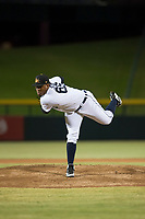 Mesa Solar Sox starting pitcher Gregory Soto (65), of the Detroit Tigers organization, follows through on his delivery during an Arizona Fall League game against the Salt River Rafters at Sloan Park on October 16, 2018 in Mesa, Arizona. Salt River defeated Mesa 2-1. (Zachary Lucy/Four Seam Images)