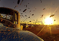 Dec. 10, 2011; Chandler, AZ, USA; View from the truck of LOORRS pro two unlimited driver Robby Woods as dirt and mud flies during round 15 at Firebird International Raceway. Mandatory Credit: Mark J. Rebilas-
