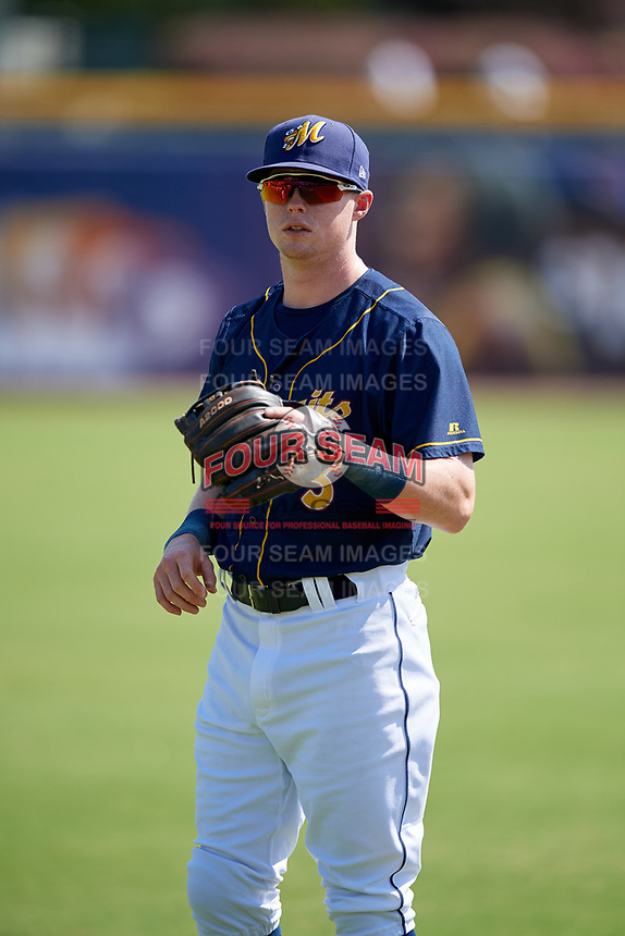 Montgomery Biscuits Jake Cronenworth (3) warms up before a game against the Biloxi Shuckers on May 8, 2018 at Montgomery Riverwalk Stadium in Montgomery, Alabama.  Montgomery defeated Biloxi 10-5.  (Mike Janes/Four Seam Images)