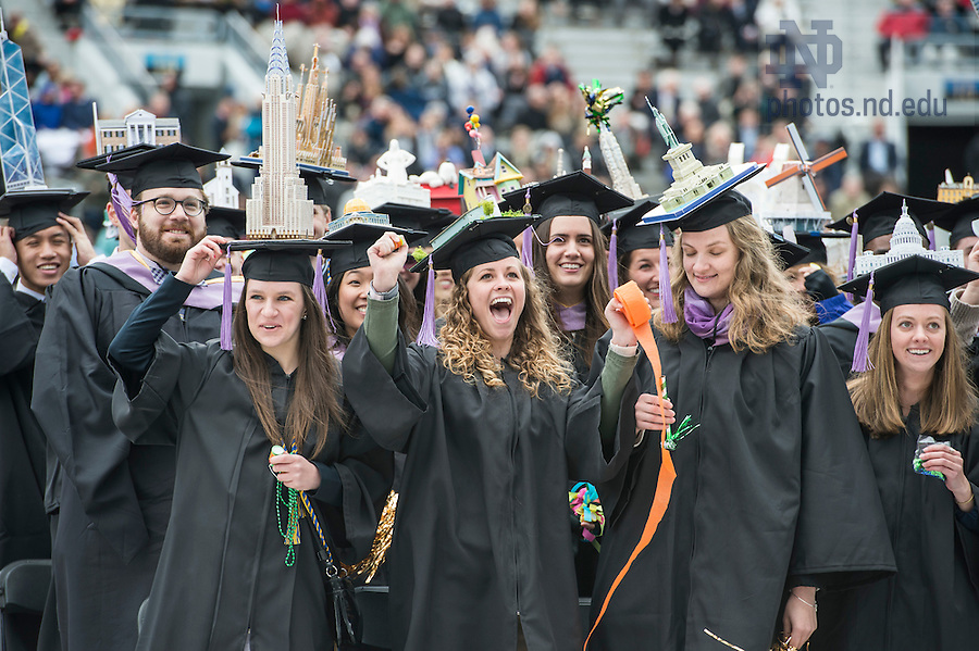 May 15, 2016; School of Architecture graduates celebrate at the close of the Commencement ceremony in Notre Dame Stadium. (Photo by Barbara Johnston/University of Notre Dame)