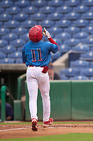 Clearwater Threshers Nicolas Torres (11) crosses home plate after hitting a home run during a game against the Fort Myers Mighty Mussels on July 29, 2021 at BayCare Ballpark in Clearwater, Florida.  (Mike Janes/Four Seam Images)