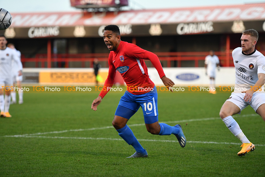 Angelo Balanta of Dagenham and Redbridge FC during Dagenham & Redbridge vs Ebbsfleet United, Buildbase FA Trophy Football at the Chigwell Construction Stadium on 19th December 2020