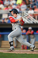 Lowell Spinners designated hitter Sam Travis (40) at bat during a game against the Batavia Muckdogs on July 18, 2014 at Dwyer Stadium in Batavia, New York.  Lowell defeated Batavia 11-2.  (Mike Janes/Four Seam Images)