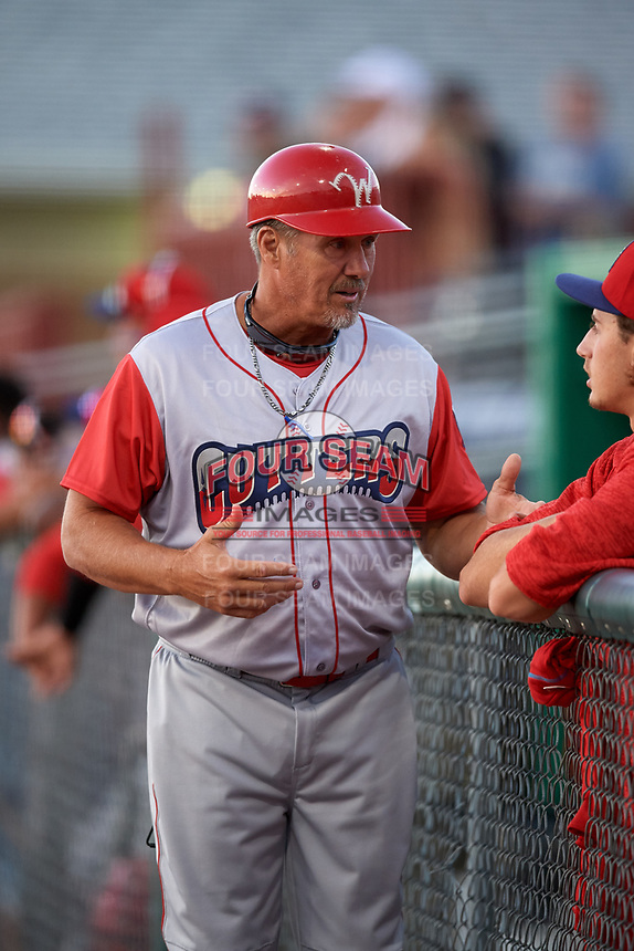 Williamsport Crosscutters manager Pat Borders (10) during a game against the Batavia Muckdogs on June 21, 2018 at Dwyer Stadium in Batavia, New York.  Batavia defeated Williamsport 6-5.  (Mike Janes/Four Seam Images)