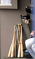 10 March 2011: A grouping of wooden baseball bats lie ready for use in the New York Mets' dugout during a Spring Training game against the Washington Nationals at Space Coast Stadium in Viera, Florida. The Nationals edged out the Mets 6-5 in Grapefruit League play. Mandatory Credit: Ed Wolfstein Photo