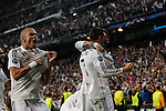 Real Madrid's Pepe cerebrates a goal (1-0) with Cristiano Ronaldo and Sergio Ramos during quarterfinal second leg Champions League soccer match against Atletico de Madrid at Santiago Bernabeu stadium in Madrid, Spain. April 22, 2015. (ALTERPHOTOS/Victor Blanco)