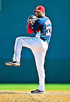 8 March 2010: Washington Nationals' pitcher Brian Bruney on the mound during a Spring Training game against the Florida Marlins at Space Coast Stadium in Viera, Florida. The Marlins defeated the Nationals 12-2 in Grapefruit League action. Mandatory Credit: Ed Wolfstein Photo