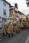 Dunmow Flitch Trial. Great Dunmow, Essex. UK 2008. Winning married couple chaired through town behind the Flitch of Bacon.