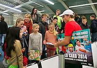 19-01-14,Netherlands, Rotterdam,  TC Victoria, Wildcard Tournament, ,   Final,  Alban Meuffels (NED)  signing autographs.<br /> Photo: Henk Koster