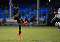 LAKE BUENA VISTA, FL - JULY 18: José Cifuentes #11 of LAFC takes a shot during a game between Los Angeles Galaxy and Los Angeles FC at ESPN Wide World of Sports on July 18, 2020 in Lake Buena Vista, Florida.