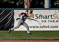 12 June 2021: Westfield Starfires infielder Sean Burychka, from Mount Laurel, NJ, in action against the Vermont Lake Monsters at Centennial Field in Burlington, Vermont. The Lake Monsters defeated the Starfires 4-1 at Centennial Field, in Burlington, Vermont. Mandatory Credit: Ed Wolfstein Photo *** RAW (NEF) Image File Available ***