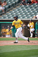 Michael Stefanic (5) of the Salt Lake Bees at bat against the Las Vegas Aviators at Smith's Ballpark on July 25, 2021 in Salt Lake City, Utah. The Aviators defeated the Bees 10-6. (Stephen Smith/Four Seam Images)