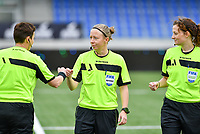 referees Lois Otte (middle) pictured with Ella De Vries (left) and Joline Delcroix (r) during a female soccer game between Club Brugge Dames YLA and Oud Heverlee Leuven on the 8 th matchday of the 2020 - 2021 season of Belgian Scooore Womens Super League , saturday 21 th November 2020  in Knokke , Belgium . PHOTO SPORTPIX.BE | SPP | DAVID CATRY