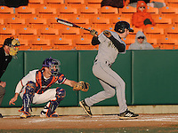 Left fielder Clark Wise (5) of the Wofford Terriers in a game against the Clemson Tigers on Wednesday, March 6, 2013, at Doug Kingsmore Stadium in Clemson, South Carolina. Clemson won, 9-2. (Tom Priddy/Four Seam Images)