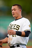 Matt Thaiss (21) of the Salt Lake Bees during the game against the Albuquerque Isotopes at Smith's Ballpark on April 24, 2019 in Salt Lake City, Utah. The Isotopes defeated the Bees 5-4. (Stephen Smith/Four Seam Images)