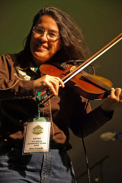 Bruce Daigrepont and Gina Forsyth perform at the Montana Folk Festival