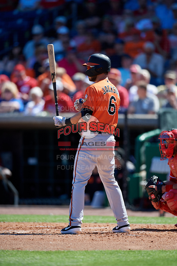 Baltimore Orioles designated hitter Drew Jackson (6) at bat during a Grapefruit League Spring Training game against the Philadelphia Phillies on February 28, 2019 at Spectrum Field in Clearwater, Florida.  Orioles tied the Phillies 5-5.  (Mike Janes/Four Seam Images)
