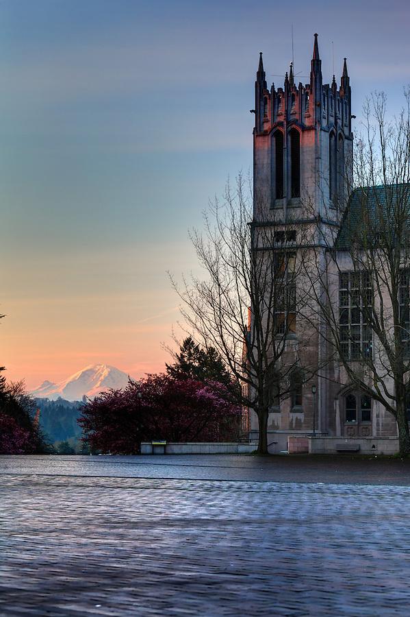 Gerberding Hall and Mount Rainier at sunrise, University of Washington, Seattle, Washington, USA