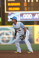 Myrtle Beach Pelicans 2nd baseman Santiago Chirino #4 in the field during a game against the Wilmington Blue Rocks at Tickerreturn.com Field at Pelicans Ballpark on April 7, 2012 in Myrtle Beach, SC. Myrtle Beach defeated Wilmington 2-1. (Robert Gurganus/Four Seam Images)