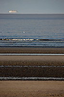 Europe/France/Nord-Pas-de-Calais/59/Nord/Bray-Dunes: La plage   sur la Côte d'Opale avec en fond le port et la zone industrielle portuaire