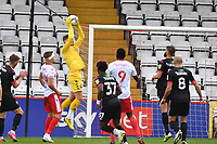 Vaclav Hladky of Salford City F.C. jumps and catches a cross during Stevenage vs Salford City, Sky Bet EFL League 2 Football at the Lamex Stadium on 3rd October 2020