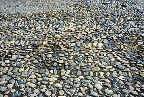 Old cobblestone road with intact cobbles