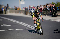 After descending the Cipressa Niccolò Bonifazio (ITA/Direct Energie) tries a solo escape<br /> <br /> 110th Milano-Sanremo 2019 (ITA)<br /> One day race from Milano to Sanremo (291km)<br /> <br /> ©kramon