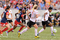 Houston, TX - Sunday Oct. 09, 2016: Crystal Dunn, Taylor Smith during the National Women's Soccer League (NWSL) Championship match between the Washington Spirit and the Western New York Flash at BBVA Compass Stadium. The Western New York Flash win 3-2 on penalty kicks after playing to a 2-2 tie.