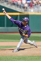 TCU Horned Frogs pitcher Brian Trieglaff (21) delivers a pitch to the plate against the Texas Tech Red Raiders in Game 3 of the NCAA College World Series on June 19, 2016 at TD Ameritrade Park in Omaha, Nebraska. TCU defeated Texas Tech 5-3. (Andrew Woolley/Four Seam Images)