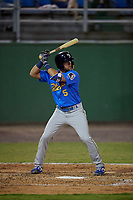 Myrtle Beach Pelicans Grant Fennell (5) at bat during a Carolina League game against the Potomac Nationals on August 14, 2019 at Northwest Federal Field at Pfitzner Stadium in Woodbridge, Virginia.  Potomac defeated Myrtle Beach 7-0.  (Mike Janes/Four Seam Images)