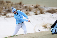 PINEHURST, NC - MARCH 02: Ryan Burnett of the University of North Carolina hits out of a bunker next to the green on the second hole at Pinehurst No. 2 on March 02, 2021 in Pinehurst, North Carolina.