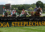 09 August 06: Mixed Up (no. 7) (ridden by Danielle Hodsdon and trained by Jonathan Sheppard) nip Preemptive Strike (no. 4) at the wire after Preemptive Strike led from the start in the grade 1 A.P. Smithwick Memorial Steeplechase for four year olds and upward at Saratoga Race Track in Saratoga Springs, New York.